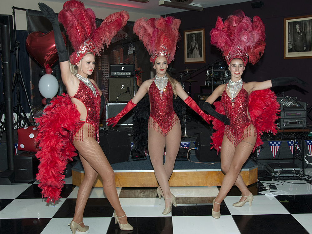 Red showgirls performers