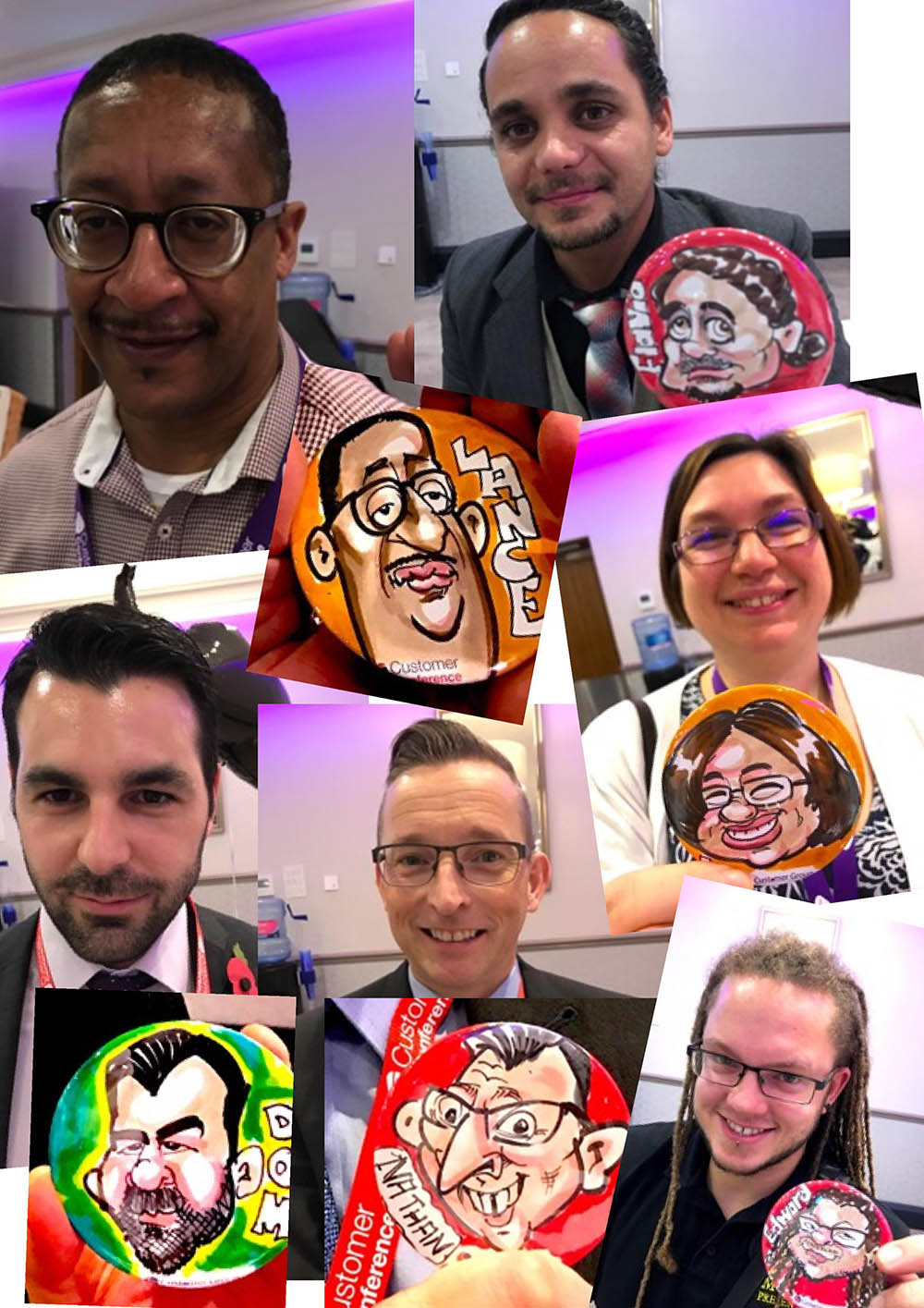 Badge caricaturists for events