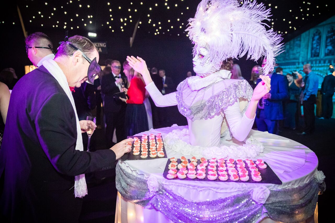 walkabout masquerademask performer events guests canapes